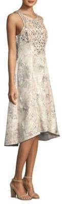 Aidan Mattox Beaded Brocade Hi-Lo Dress