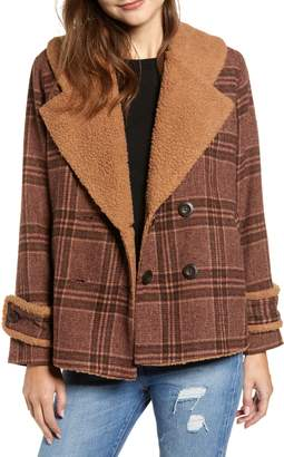 Moon River Faux Shearling Trim Plaid Jacket