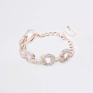 River Island Gold tone rhinestone encrusted bracelet