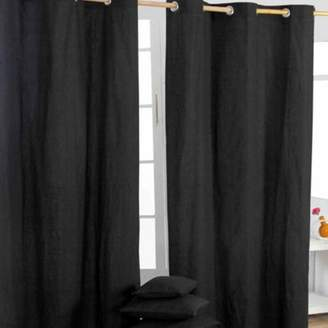 Camilla And Marc Homescapes Cotton Plain Black Ready Made Eyelet Curtain Pair, 137 X 182 Cm