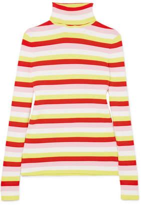 La Ligne Tick Striped Ribbed Stretch-cotton Jersey Turtleneck Sweater