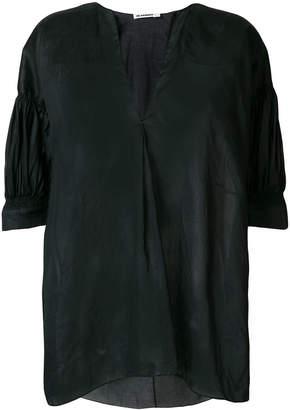 Jil Sander draped sheer short-sleeve blouse