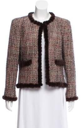 Chanel Mink-Trimmed Tweed Jacket