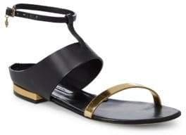 Oscar de la Renta Regina Metallic Gladiator Leather Sandals