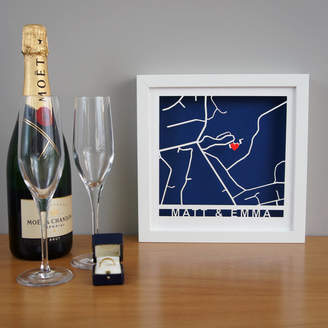 LocalOutlines Personalised Cherished Location Map Box Frame