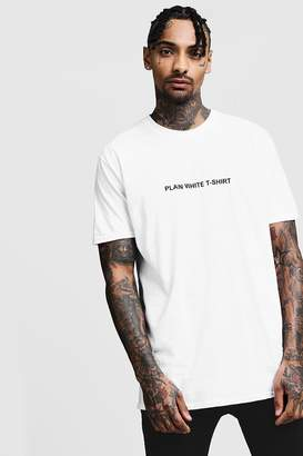 Oversized Plain White T-Shirt Front Print Tee