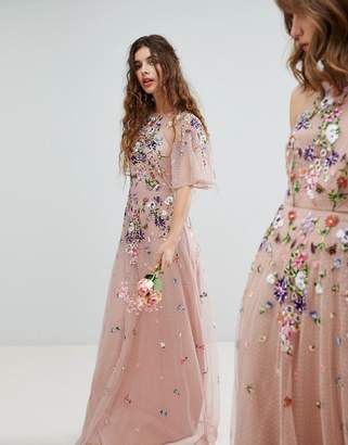 Asos DESIGN Bridesmaid floral embroidered dobby mesh flutter sleeve maxi dress