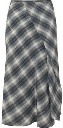 Vince Shadow Wrap-effect Plaid Silk Midi Skirt - Gray