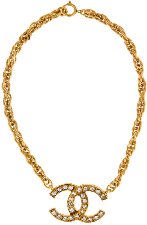 WGACA Vintage Chanel 80's CC Rhinestone Necklace