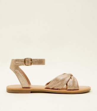 New Look Gold Glitter Bow Strap Flat Sandals