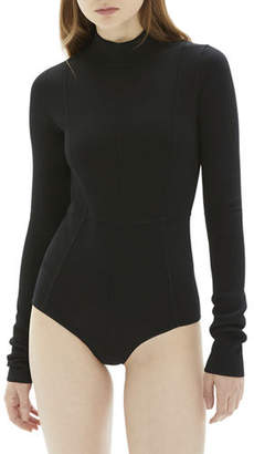 Helmut Lang Mock-Neck Long-Sleeve Viscose Bodysuit