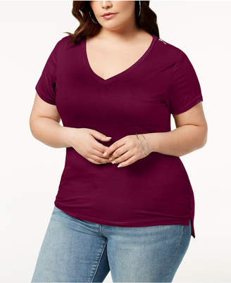 Abasix Trendy Plus Size Zipper-Trim T-Shirt