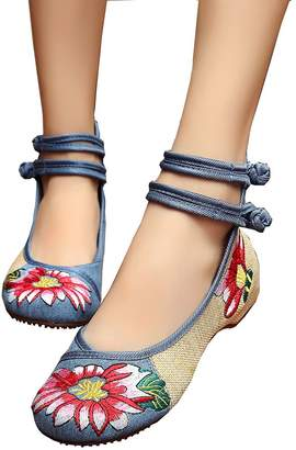 Soficy Womens Embroidery Rubber Sole Summer Wedges Sandals Fashion Dress Shoes for Cheongsam(,38)