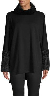 Saks Fifth Avenue Faux Fur Turtleneck Sweater