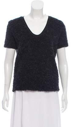 Prada Sport Knit Short Sleeve V-Neck Top