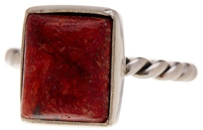 Exex Design Jewelry Sterling Silver Naples Red Sponge Coral Ring