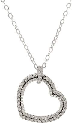 "Italian Silver Stella Heart Pendant with 18"" Chain Sterling"