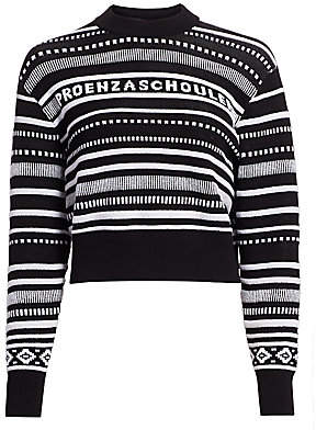 Proenza Schouler (プロエンザ スクーラー) - Proenza Schouler PSWL Women's Striped Logo Cropped Sweater