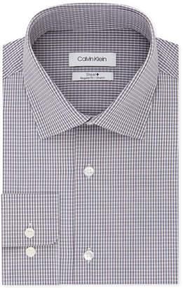 Calvin Klein Men's Steel Classic/Regular-Fit Performance Stretch Moisture-Wicking Non-Iron Aqua Check Dress Shirt