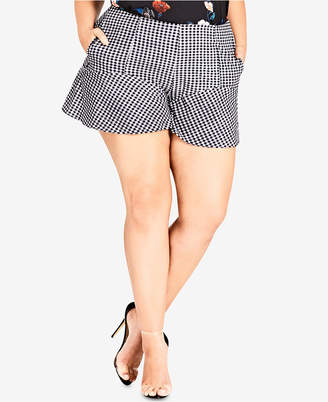 City Chic Trendy Plus Size Flared Gingham Shorts