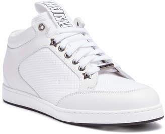 Jimmy Choo Miami white leather logo tag sneakers