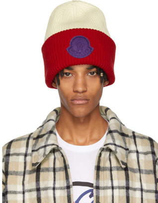 Moncler Genius 2 1952 Red and White Logo Beanie