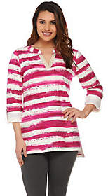 Susan Graver Weekend Striped French Terry SplitNeck Top