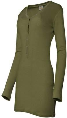 SkylineWears Women Henley Neck Button Placket Long Sleeve Fashion Casual Mini Dress L
