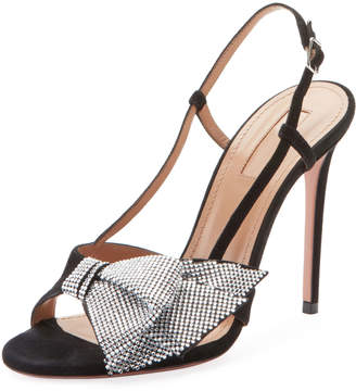 Aquazzura Flash Dance Crystal-Bow Sandals