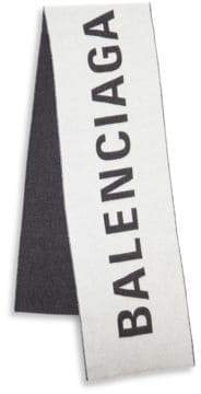 Balenciaga Men's Macro Logo Jacquard Wool Scarf - White Black