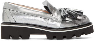 MSGM Silver Metallic Fringe Loafers