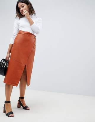 Asos DESIGN leather look wrap midi skirt