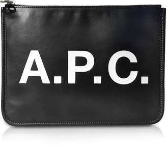 A.P.C. Black Signature Vinyl Clutch