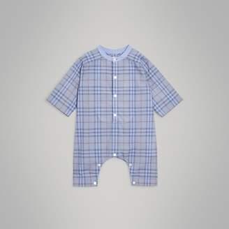 Burberry Bib Detail Check Cotton Jumpsuit , Size: 3M, Blue