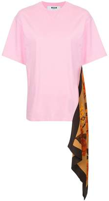 MSGM scarf-panelled T-shirt