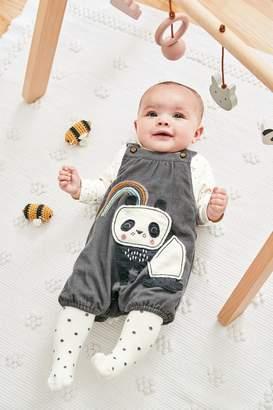 Next Girls Grey Panda Cord Dungaree, Bodysuit And Tights Set (0mths-2yrs) - Grey