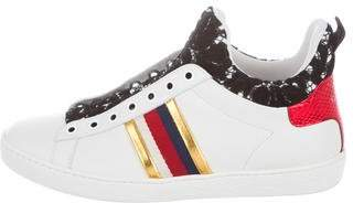 Gucci 2018 New Ace Lace Snakeskin Sneakers
