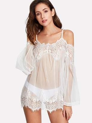 Shein Lace & Mesh Cami Slips Set