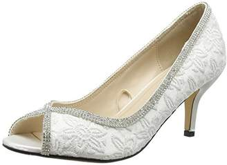 3569b2ff329 Quiz Women s Diamante Lace Peep Toe Court Open Heels
