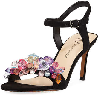 Neiman Marcus Venus Jeweled Suede Sandals