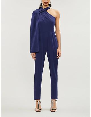 Lavish Alice One-shoulder cape-sleeved stretch-crepe jumpsuit