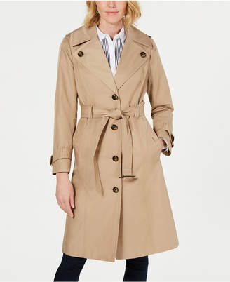 London Fog Single-Breasted Belted Water-Repellent Trench Coat
