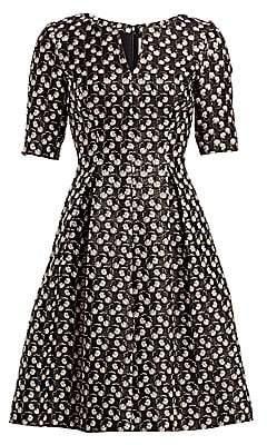 Lela Rose Women's Petite Floral Brocade Fit-&-Flare Dress