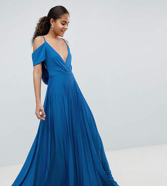 Asos Tall DESIGN Tall cold shoulder cowl back pleated maxi dress