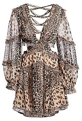 Zimmermann Women's Allia Leopard Cutout Sheer Dress