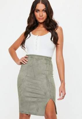 Missguided Khaki Faux Suede Split Front Midi Skirt