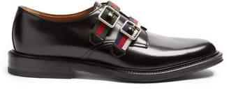 Gucci - Beyond Web Striped Monk Strap Leather Shoes - Mens - Black Multi