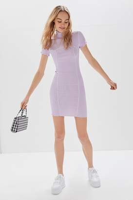 Urban Outfitters Erin Contrast Stitch Mock-Neck Mini Dress