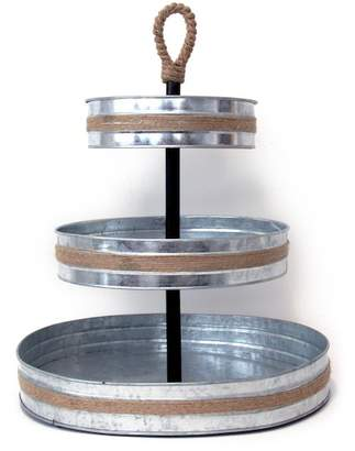 Mesa Roped Galvanized 3 Tier Serving Stand