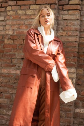 Nasty Gal Womens Leather Let Me Go Faux Leather Trench Coat - Brown - 8